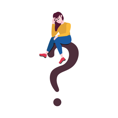 Adult sad woman sitting at big question in thoughtful pose scratching head with negative emotions. Vector illustration and doubtful female charcater.