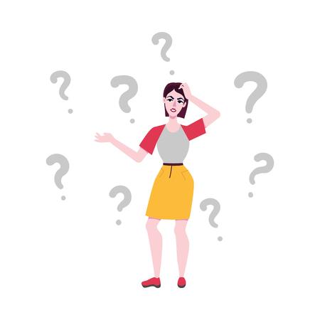Volwassen vrouw in rok, vrijetijdskleding die in doordachte pose staat en handen spreidt, hoofd krabbend met negatieve emoties met vragen in de buurt. Vectorillustratie, portret over de volledige lengte