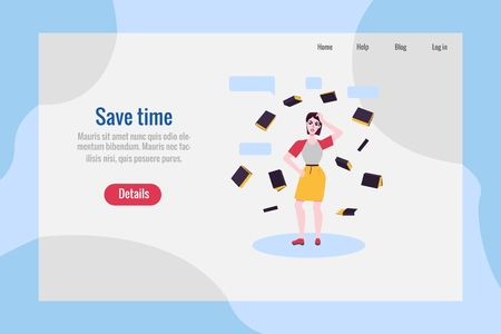 Save time poster with adult woman in skirt, casual clothing standing in thoughtful pose spreading hands, scratching head with negative emotions with books around. Vector illustration Illustration