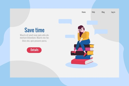 Save time poster template with adult sad woman sitting at big books pile in thoughtful pose scratching head with negative emotions. Vector illustration and doubtful female charcater.