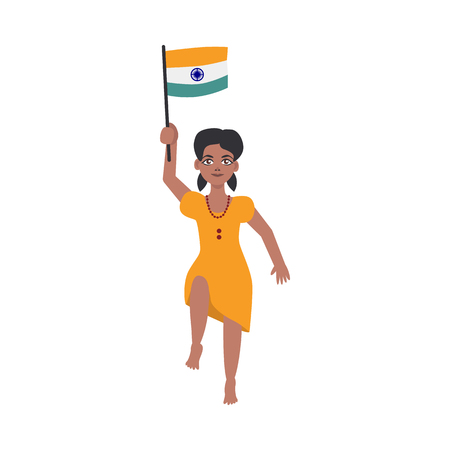 Flat indian teen girl kid jumping smiling holding national flag. Cheerful young female asian character with state sign. Vector isolated illustration Illustration