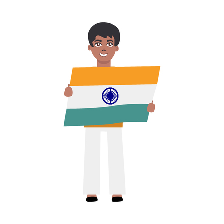 Flat indian man kid standing smiling holding national flag. Cheerful young male asian character with state sign. Vector isolated illustration Illustration