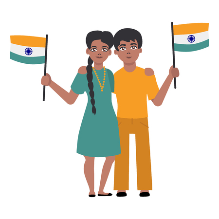 Flat indian young couple standing smiling holding national flag. Cheerful young male, female asian character with state sign. Vector isolated illustration Vettoriali