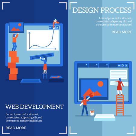 Web site design and development process on vertical banners set - it specialists team constructing, painting and filling webpages with content in flat vector illustration.