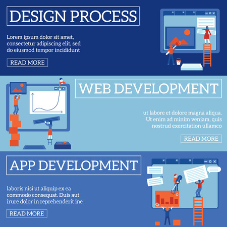 Web page design and development process on horizontal banners set. IT specialists team constructing, painting and filling websites with content in flat vector illustration. Иллюстрация