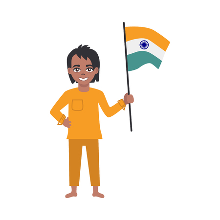 Flat indian teen boy kid standing smiling holding national flag. Cheerful young male asian character with state sign. Vector isolated illustration