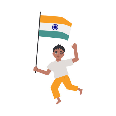Flat indian teen boy kid running smiling holding national flag waving hand. Cheerful young male asian character with state sign. Vector isolated illustration Illustration