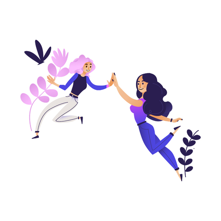 Cheerful young women giving high five smiling on abstract floral background. Cute female characters having fun expressing symbol of friendship cooperation teamwork. Vector cartoon illustration Stock Illustratie