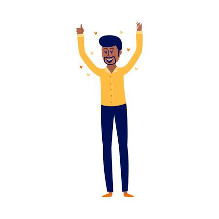 Vergnügen und verliebtes Konzept mit begeistertem afrikanischen Mann mit ähnlicher Geste einzeln auf weißem Hintergrund. Flache Vektorillustration des jungen zufriedenen Jungen, der mit positiven Gefühlen steht. Vektorgrafik