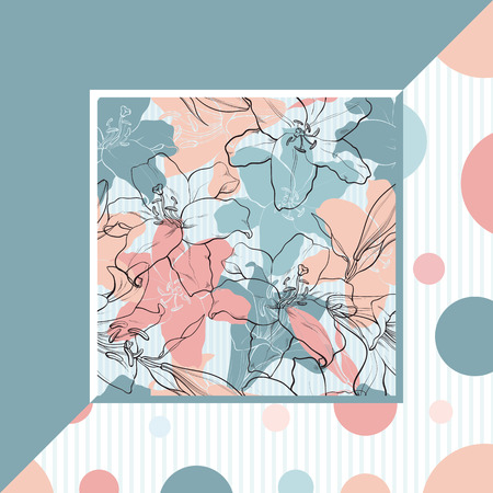 Lilies in sketch style on pastel colored banner - hand drawn tender flowers in square frame. Floral decorative vector illustration with outline blossoms and gentle colors.