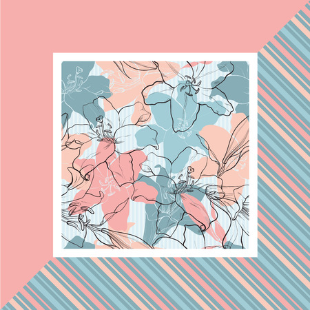 Lilies in sketch style on pastel colored banner. Hand drawn tender flowers in square frame - floral decorative vector illustration with outline blossoms and gentle colors.