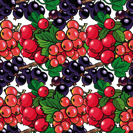 Sketch garden berries, leaves seamless pattern background. Blackberry and red currant . Fresh juicy sweet food, Symbol of healthy lifestyle dieting, vector illustration