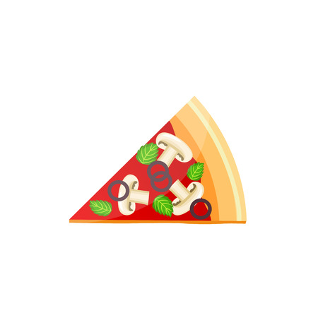 Flat delicious pizza slice icon with mushrooms, tomato sause, mint leaves and sliced olive rings. Italian tradional cuisine food, pizzeria and restaurant menu design element. Vector illustration.