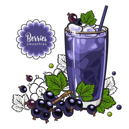 Black currant smoothie in sketch style isolated on white background. Summer cool drink with blended fresh ripe fruits and ice in glass - healthy beverage with berries in vector illustration.