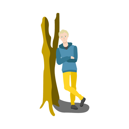 Young blonde man in green jacket leaning at tree smiling having rest, relaxing after work or education. Cartoon guy resting in comfortable cozy environment. Vector isolated illustration Imagens - 111497595
