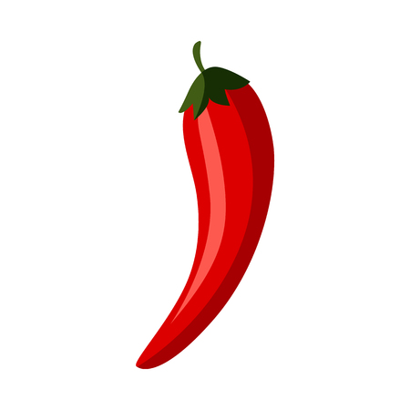 Ripe raw red chili peppers icon. Red healthy food, vegetable full of vitamins. Fresh nutritions source, dieting and healthy life style symbol. Vector flat illustration isolated