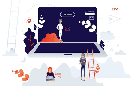 Cartoon social communication concept with people from big laptop chatting, sending messages, typing at laptop within people, trees and abstract shapes background. Vector illustration