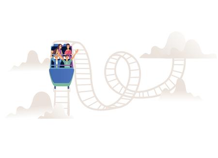 Montagnes russes avec une entreprise ou une équipe d'adultes en voiture ouverte sur une voie ferrée isolée sur fond blanc. Les jeunes s'amusent et s'amusent sur un manège en illustration vectorielle de dessin animé. Vecteurs