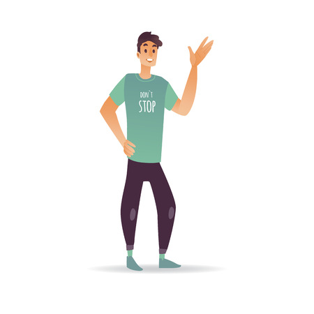 Young man waving hand - cheerful smiling boy greeting or saying goodbye isolated on white background. Cartoon male character standing with welcoming gesture in vector illustration. Illustration