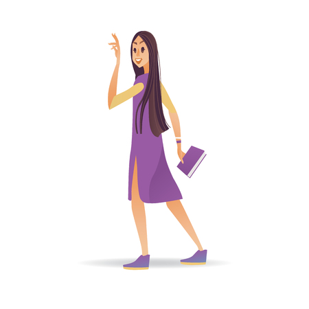 Young woman waving hand while walking - cartoon smiling girl with book greeting or saying goodbye isolated on white background. Female character with welcoming gesture in vector illustration.