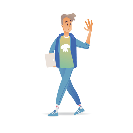 Young man waving hand while walking - cheerful smiling boy with laptop greeting or saying goodbye isolated on white background. Cartoon male character with welcoming gesture in vector illustration. Vektorové ilustrace
