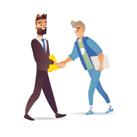 Bearded businessman and boy shaking hands isolated on white background - greeting or business deal concept with young people with handshake gesture in cartoon vector illustration. Ilustração