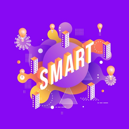 SMART goal setting trendy background template with vibrant gradient purple colors, abstract round shapes with rlight bulbs,buildings. Vector modern poster, banner, presentation layout Illusztráció