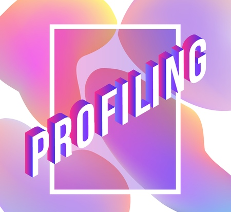 Profiling isometric text design on abstract geometric gradient shapes and bubbles on white background for business presentation or promotion banner in vector illustration.