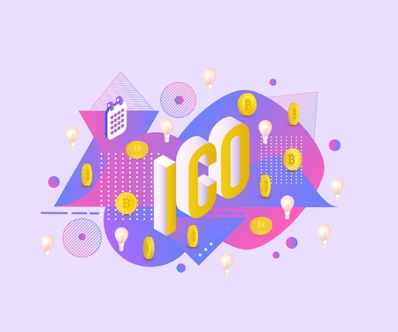 Vector illustration of ICO text design - isometric sign with golden bitcoins and light bulbs with calendars on abstract gradient geometric fluid color shapes and textures.