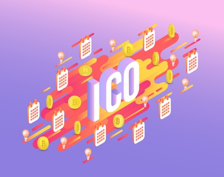 ICO text design vector illustration - isometric sign with golden bitcoins and light bulbs with calendars on abstract orange gradient geometric shapes and stripes on violet background.
