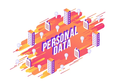 Vector illustration of Personal Data text design with isometric violet sign and multi storey buildings and calendars with multi bulbs on abstract orange gradient geometric shapes and stripes. Illustration