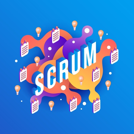 Scrum text design vector illustration - isometric sign with light bulbs and calendars on abstract orange and violet gradient geometric shapes and bubbles isolated on blue background.