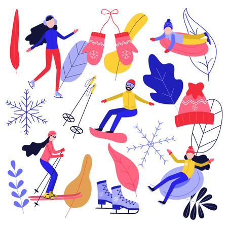 Winter sport and active leisure set with people riding skates and snowboard and having fun on snow tube and ski isolated on white background - flat vector illustration of seasonal design elements.