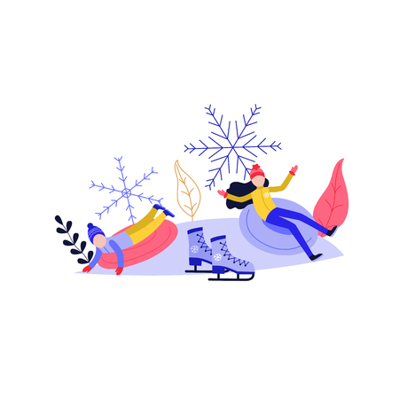 Young woman and kid sledding and having fun on snow hill isolated on white background - winter sport and active leisure concept with people riding on snow tube in flat vector illustration. Stock Illustratie