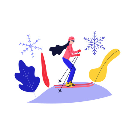 Young woman skiing on snow hill isolated on white background - winter sport and active leisure concept with girl in warm clothes and goggles riding on ski in flat vector illustration.
