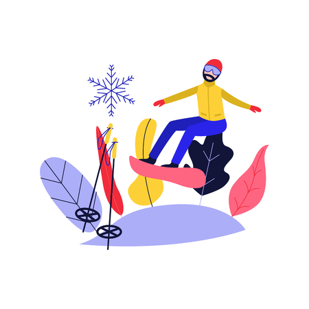 Winter sport and active leisure concept with young man in warm clothes and mask snowboarding - guy riding and jumping with snowboard on hill in flat isolated vector illustration. Illustration