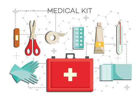 First-aid kit with necessary contents - medical equipment for emergency help set isolated on white background. Flat icons of medicine chest for home use in vector illustration.