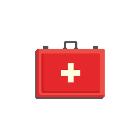 Red first aid kit case with cross isolated on white background - medicine chest with necessary medications. Medical box for healthcare and emergency help concept in flat vector illustration.