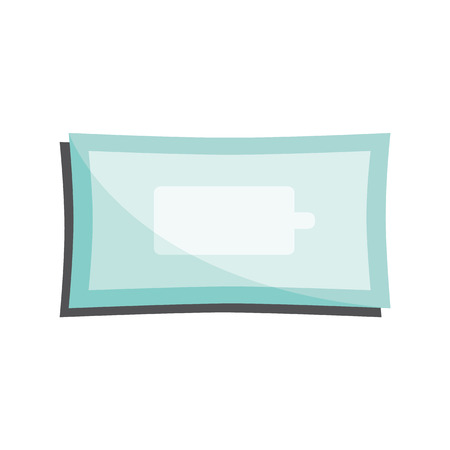 Clean wet wipes in closed package isolated on white background - antibacterial napkins pack. Flat vector illustration of sanitary and personal hygiene object for healthcare concept.