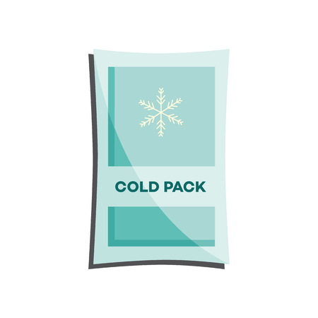 Cold pack with liquid or gel for first aid in case of injury or bruise isolated on white background. Flat vector illustration of necessary medical equipment for medicine chest.