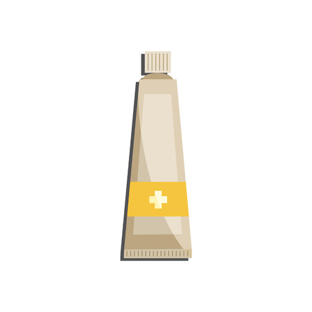 Medical ointment or cream in plastic tube with cross isolated on white background. Flat vector illustration of pharmaceutical skin gel or medicine paste for healthcare concept. Banco de Imagens - 110705108