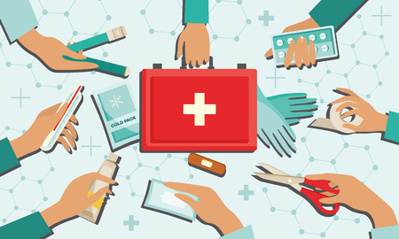 Medical kit set with necessary first aid equipment in human hands. Flat isolated vector illustration of medicine devices for emergency help - hospital rescue service concept.