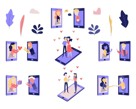 Telephone love and romantic relations on distance set with young man and woman from smartphone screens conversing and giving each other hearts and gifts isolated on white in flat vector illustration.