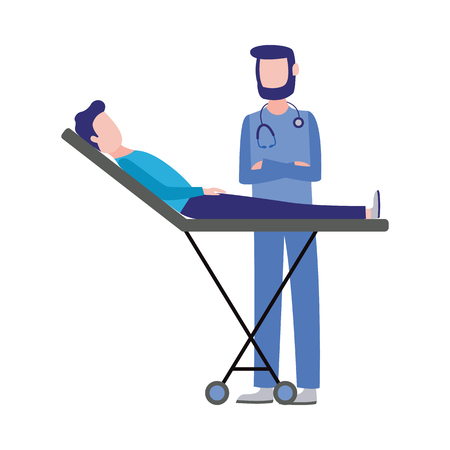 First aid, emergency and medical rescue concept with male nurse in medical uniform providing consultation and health examine. Vector man doctor helping injured man patient at gurney Illustration