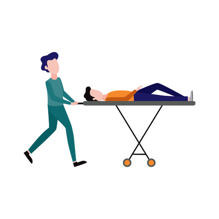 First aid, emergency and medical rescue concept with female nurse in medical uniform pushing gurney with lying male. Vector women doctor helping injured man patient