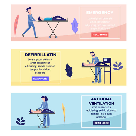 First aid, emergency and medical rescue scenes posters set. Male, female nurses and doctors doing defibrillation, artificial ventilation, helping disabled people on wheelchair vector illustration