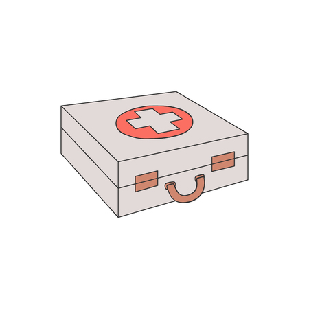 Vector illustration of first aid kit case with red cross isolated on white background. Hand drawn medicine chest - medical box for healthcare and emergency help concept.