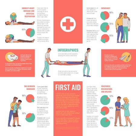 Erste Hilfe, Notfall, medizinische Rettungsinfografiken. Männliche, weibliche Krankenschwestern und Ärzte, die indirekte Herzmassage, künstliche Beatmung durchführen und Menschen mit Verletzungen helfen, Vektorgrafik mit Diagrammen Vektorgrafik