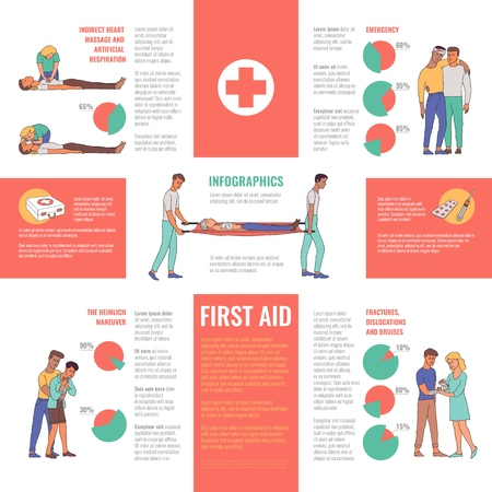 First aid, emergency ,medical rescue infographics. Male, female nurses and doctors doing indirect heart massage, artificial ventilation, helping people with injuries vector illustration with diagrams Vektorové ilustrace
