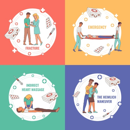 First aid, emergency and medical rescue posters set. Male, female nurses and doctors doing indirect heart massage and helping disabled people making bandaging. Men women helping injured patiens vector